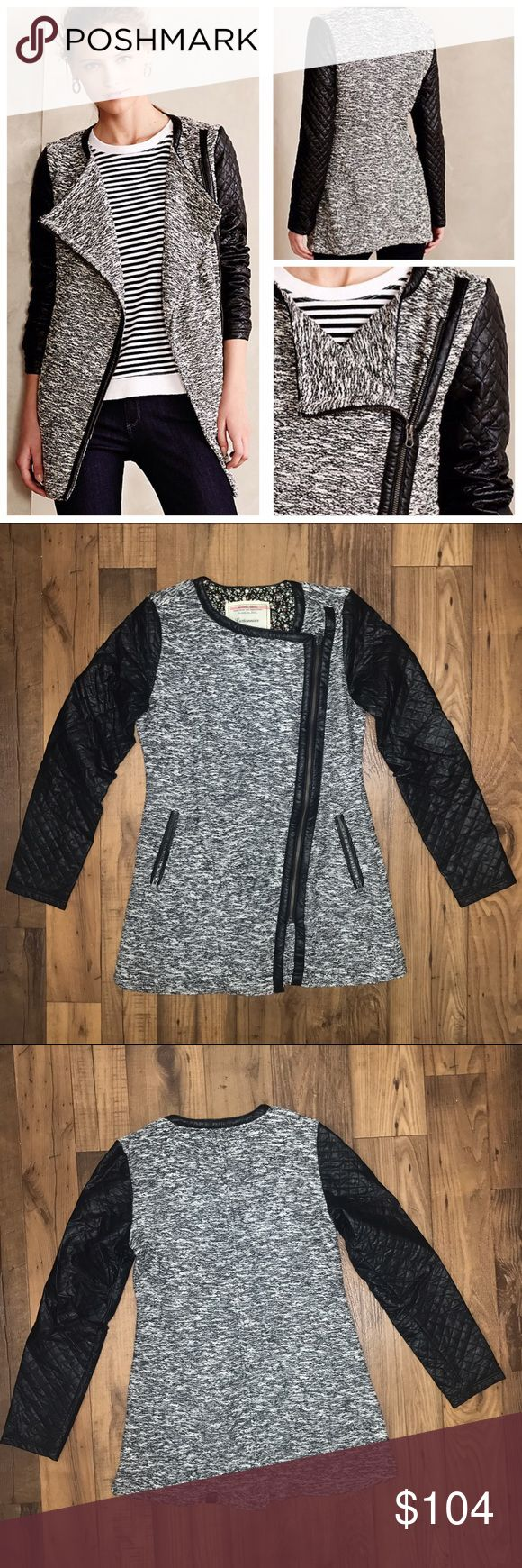 """ANTHRO Tela Moto Jacket Anthropologie Tela Mixed Media Moto Jacket with Quilted Sleeves and Angled Zipper for a trendy edgy look  Size S Chest: approx 18.5"""" Length: approx 30.5"""" Sleeve length: approx 18.75""""  Perfect condition, worn only once!!  💲💲OFFERS WELCOME💲💲 ❌❌NO Trades❌❌ Anthropologie Jackets & Coats"""
