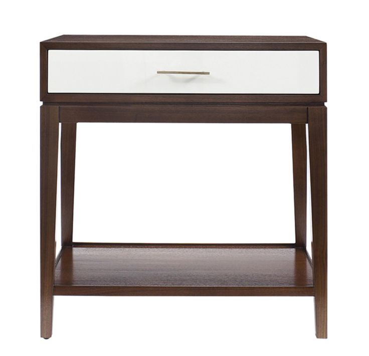 Beautifully proportioned Mitchell Gold + Bob Williams Hughes Side Table features one drawer and a shelf below and would look equally great in a bedroom or flanking a sofa in the living room. Glossy Sugar colored lacquer coats the drawer both inside and out. Comes with two hardware options, Polished Nickel or Natural Brass.
