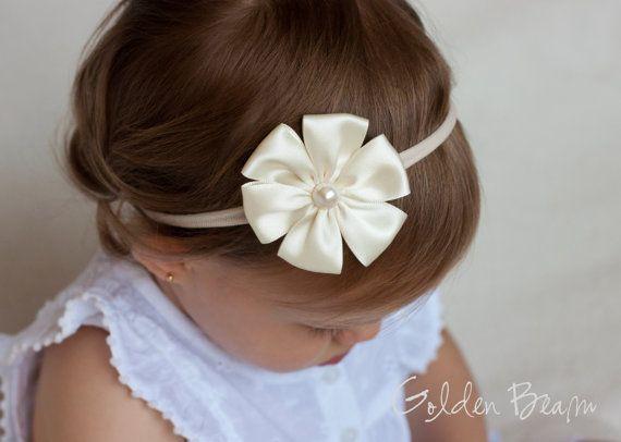 Baby Flower Headband - Ivory Satin Petal Flower Handmade Headband by GoldenBeam on Etsy