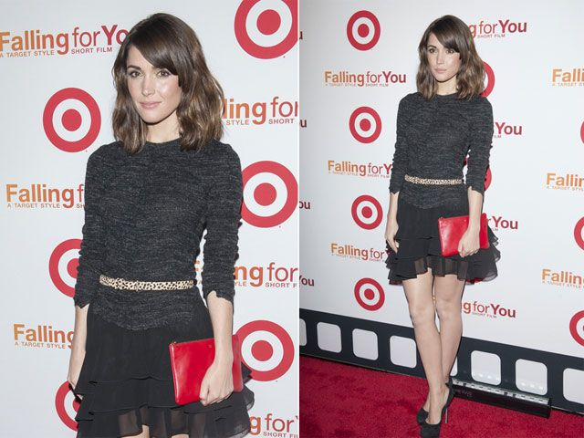 Look of the Day: Textured Black. Rose Byrne pared down her edgy sense of style for a night out in New York City in a textured black top and ruffled skirt. #stylestars