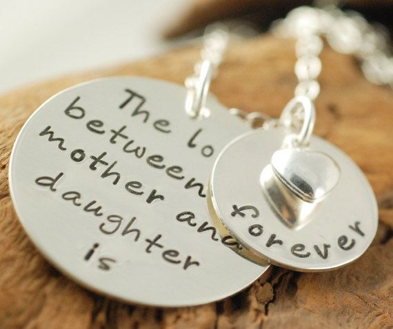 Hand Stamped Necklace, Mother & Daughter Jewelry, Personalized Jewelry, Mommy Necklace. $70.00, via Etsy.