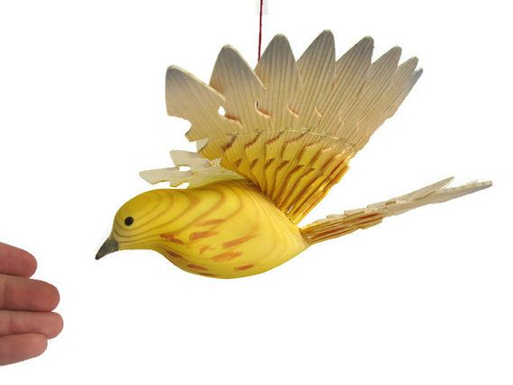 Hand Carved Wooden Fan Bird Yellow Warbler, Woodland Mobile Woodworking Art, Handmade Hanging Bird Décor, Gift for Mom, For Dad, For Teacher