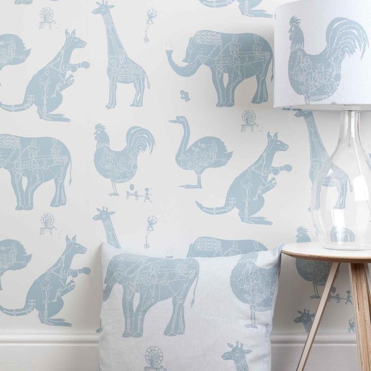 'How it works' white children's wallpaper room set