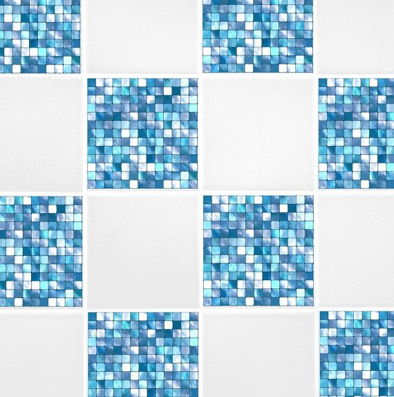 Aqua Blue Mosaic Tile Transfers 4 Part 98