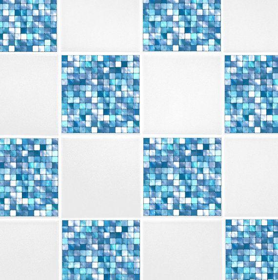 Aqua Blue Mosaic Tile Transfers 4 x 4 by TheWallStickerComp