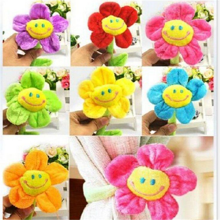 Stuffed plush plants toys Curtain clip sunflower Plush toys 8 colors Children's birthday gift 30cm