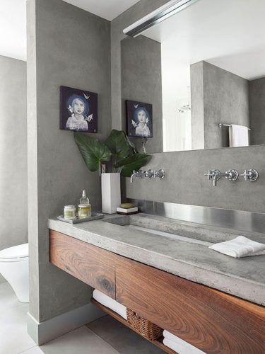 Conexão Décor banheiro com bancada, parede e piso com cimento queimado.http://conexaodecor.com/2017/09/a-versatilidade-do-cimento-queimado/