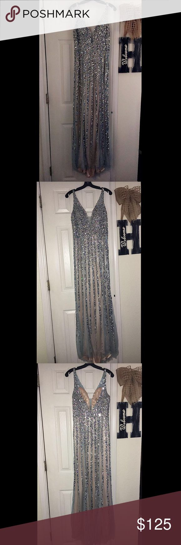 Light Blue & Lace, Glittered PROM DRESS light blue, lace, and glittered prom dress    v's front and back    very classy    has only been worn once    size 7/8 Dresses Prom