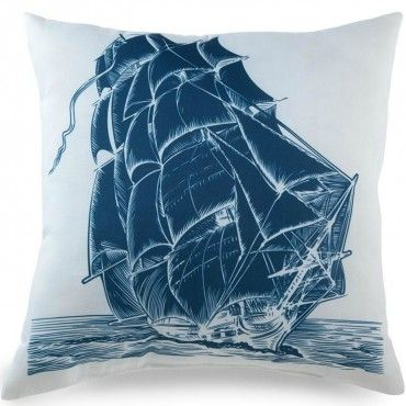 Sail away with this Blue Ship pillow.