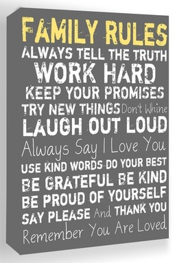 Family Rules Grey Canvas Wall Art I totally need this in my life I am sorry if I don't do this please forgive me hopefully I will  better myself each and every day to live by these rules