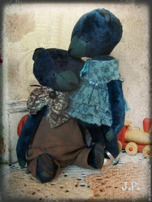 Мишка тедди. Мальчик. - темно-синий, мишка тедди, мишка девочка, мишка в одежке