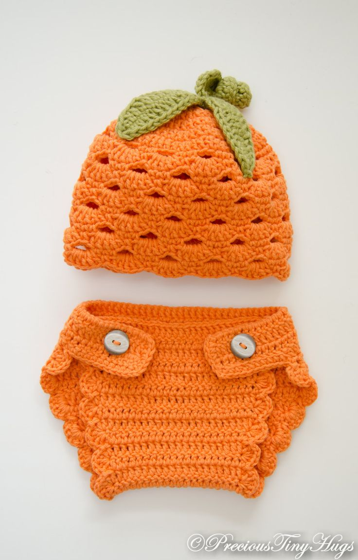 Baby Diaper Cover Set , Crochet Diaper Cover Set, Diaper Cover and Hat Set…