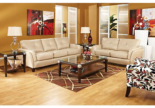 Shop for a cindy crawford home san sorrento latte leather for Looking for living room furniture