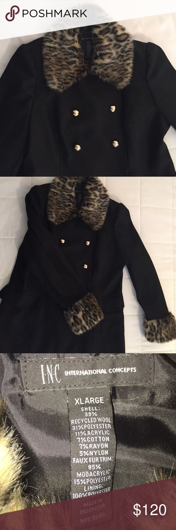 INC Leopard coat with faux fur collar This super cute coat is very stylish and fun! It has leopard faux fur cuffs and collar. The faux fur on the collar can be removed. It is double breasted with cute gold buttons.  Price resuced for discounted shipping until 12/11/16. INC International Concepts Jackets & Coats Pea Coats