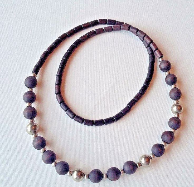 Aarikka Finland Vintage Necklace  Black Wood Beads and Silver Toned  Round Beads #Aarikka #Beaded