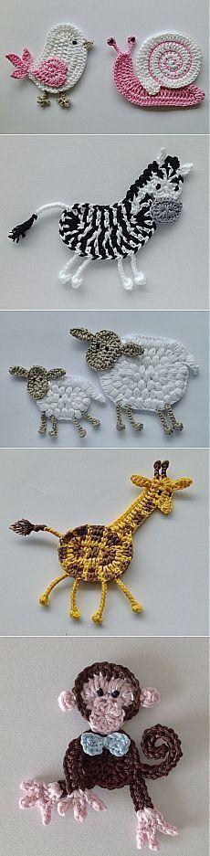 ☆ ★ ✭ Aplique de Crochê Bichos - / ☆ ★ ✭ Apply by Crochet Critters -