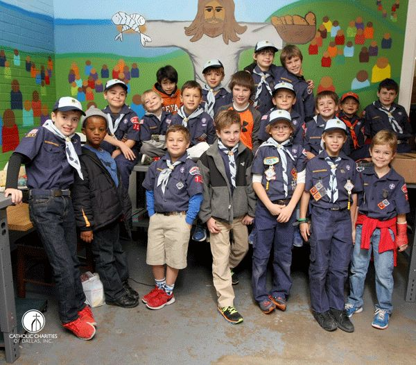 WE Love OUR VOLUNTEERS! The St. Monica's Cub Scout Pk 712 helped pack food for families in #Dallas today! Thanks for helping! #endhunger
