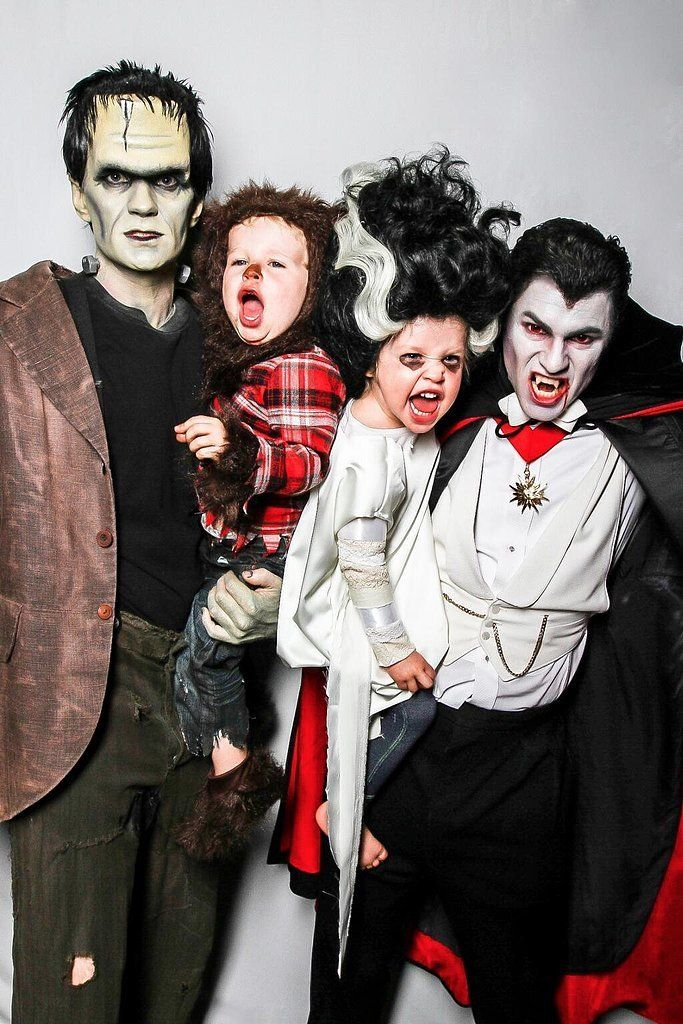 NPH and His Family as Frankenstein, the Wolfman, Bride of Frankenstein, and Dracula