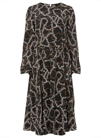 671908d899e97a Tall Black Printed Midi Skater Dress | Products | Dresses, Midi skater dress,  Fashion