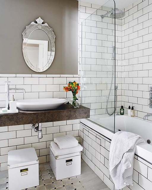 I Like The White Tile With Grey Grout Grey Bathroom   White Subway Tile  Shower