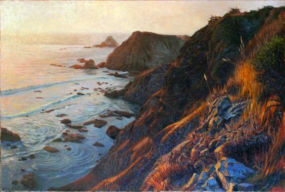 'Reverence' - California coastline in oil by DJ Cleland-Hura.