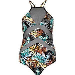 Schwarzer Badeanzug mit tropischem Muster