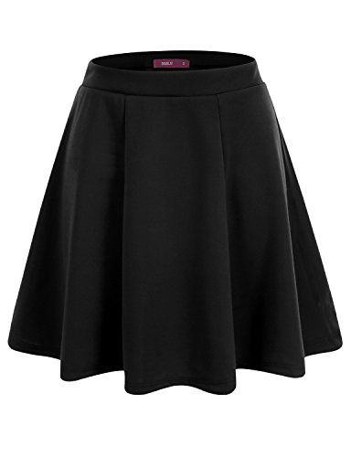 Doublju Womens Basic Versatile Stretchy Flared Skater Skirt -- To view further for this item, visit the image link.
