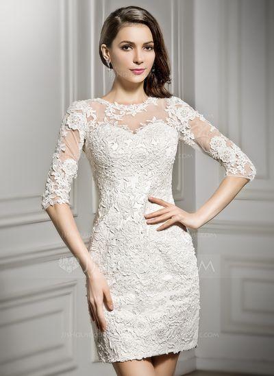 Forme Fourreau Col rond Court/Mini Tulle Dentelle Robe de mariée (002057296)