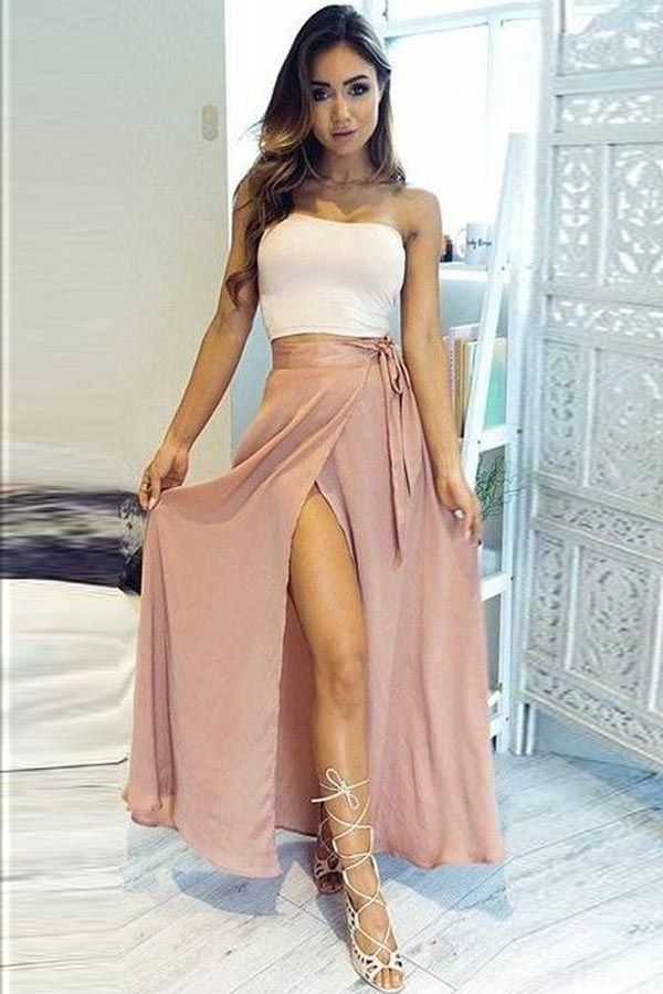 Two Piece Strapless Ankle-Length High Split Chiffon Prom Dress PG433
