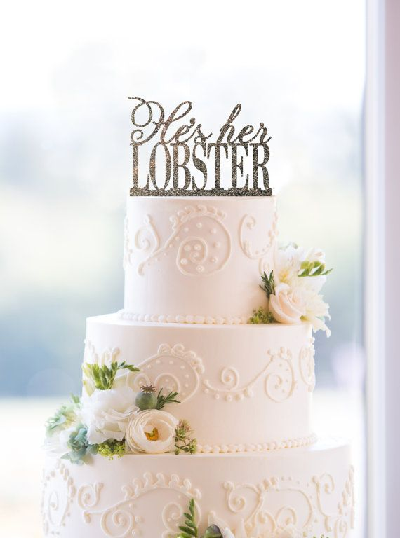 I LOVE THIS!!!!  He's Her Lobster Cake Topper by Chicago Factory by ChicagoFactory, $15.00