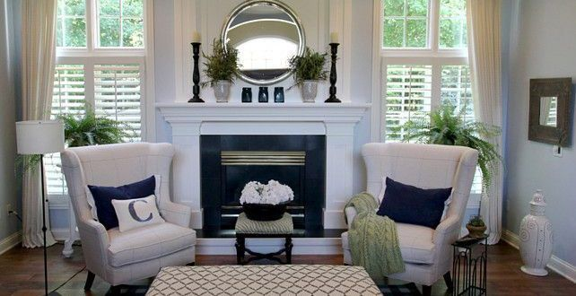 Love The Blue Wall Color With White Trim And Curtains And The Wing Back Chairs Pickndecor Home Furniture Placement Living Room Small Living Room Furniture Formal Living Room Furniture