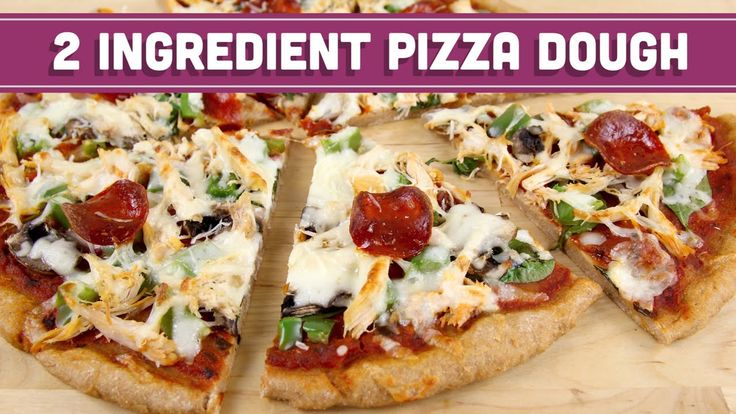 2 Ingredient Pizza Dough using whole wheat flour and Greek yogurt! Healthy Pizza and Breadsticks! - Mind Over Munch