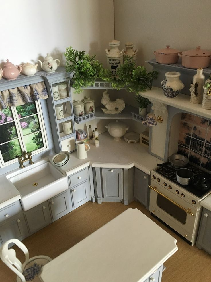 Fabulous kitchen by mollysue miniatures - talented lady that produces the most beautiful shabby chic items. www.mollysueminiatures.com