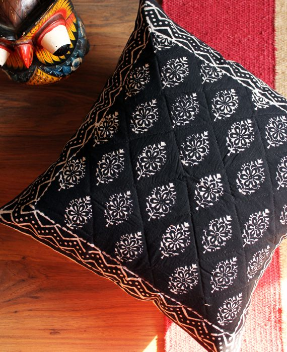quilted black throw pillow cover with indian motifs in white made from hand block printed 100