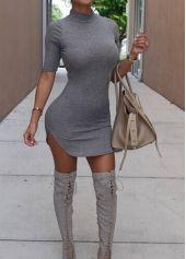Grey Stand Collar Bodycon Mini Dress