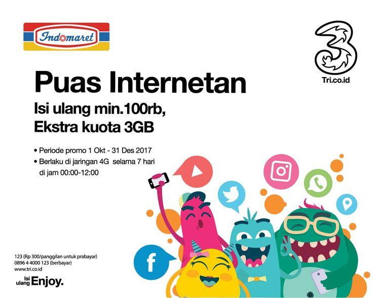 Dapatkan ekstra kuota tiap isi ulang pulsa TRI min. Rp. 100.000 di Indomaret periode 1 Oktober - 31 Desember 2017. Info lengkap pada poster.