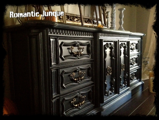 ~decadence. Vintage Black Distressed Dresser/Console.. I need to find me a old one of these to beautify