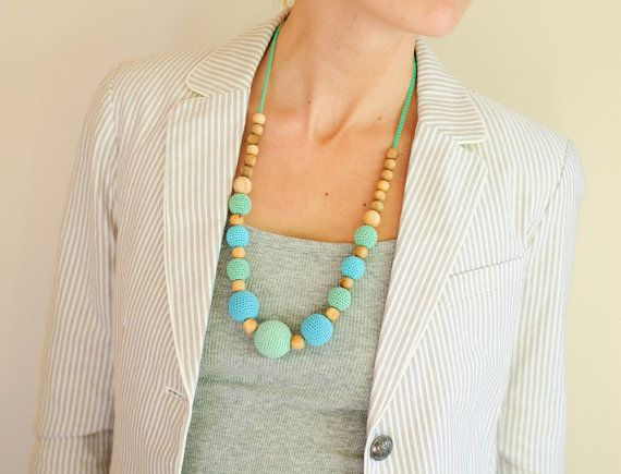 Mint & Bright Blue Nursing Necklace by Kangaroo by KangarooCare, $29.00