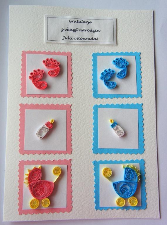 Квиллинг открытки для новорожденного