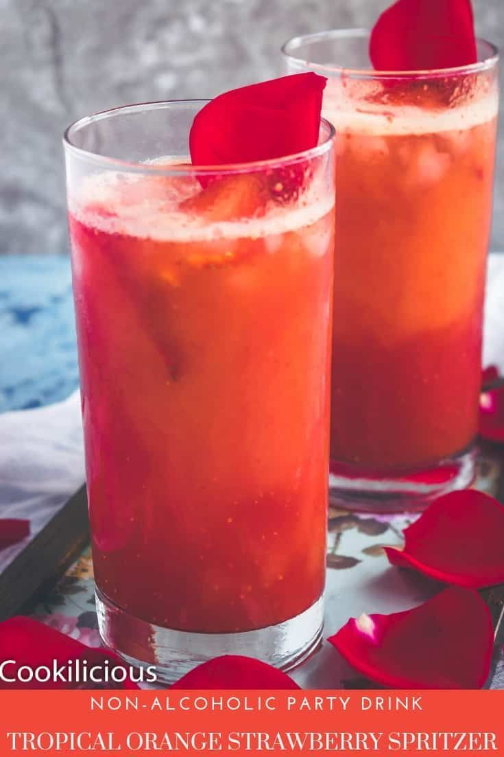 Tropical Orange Strawberry Spritzer Is One Gorgeous Looking Tasting Non Al The Eat Blog In 2020 Party Drinks Non Alcoholic Tropical Orange