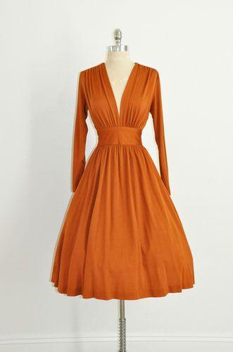 Sexy Vtg Burnt Cinnamon Orange Cleavage Retro 70s 50s Rockabilly Evening Dress