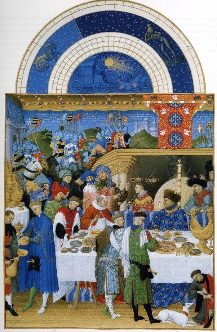 """The Limbourg Brothers, """"Les Très Riches Heures du Duc de Berry"""" (detail of January), ca. 1411/3–1418. Manuscript, Condé Museum, Chantilly #nyusurvey2"""