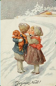 Such a sweet Christmas postcard ~ a little boy, with his puppy, and a little girl, kiss goodbye....