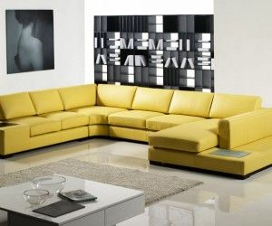 Furniture, Modern Living Room With Yellow Leather Sleeper Sofas Ideas And  Minimalist Furniture Set Decorations