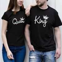 King and Queen couple T-shirt & Prince and Princess T-shirt Material:Cotton Color:black and white Si