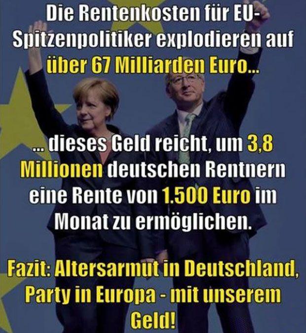 Für Deutschland habe ich schon oft den Vorschlag gemacht für eine zukunftssichere Rente. Es gibt nur eine Lösung. (Autor Uwe Melzer) 1. Bürgerversicherung: Es gibt nur eine Rentenversicherung für alle = Beamter, Angestellte, Arbeiter und Selbständige. Die Bemessungsgrenze fällt weg. Besserverdienende beteiligen sich dann mit einem höheren Beitrag gemäß Ihrem Einkommen an den Sozialkosten und Renten in Deutschland. Gleichzeitig wird, wie in der Schweiz, die Rente nach oben für Besserverdi… – Anne Jelen