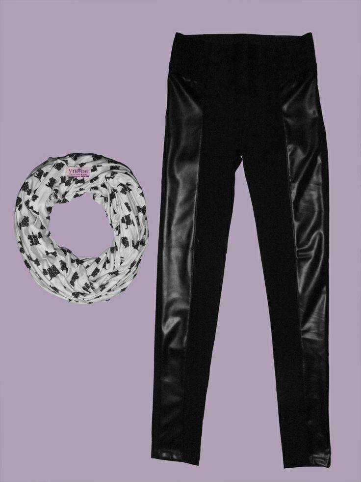 Pantalón costados en cuero disponibles en talla S y M en color negro! bufanda circular en algodón.