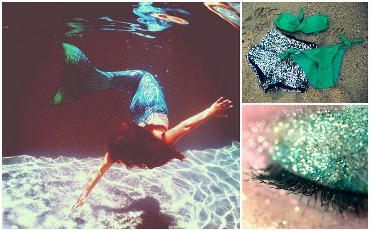 Be a magical mermaid in a sea-green Scarlett Swimwear bandeau bikini and sequinned micro shorts