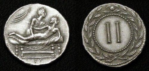Rome Erotic token Spintriae II 1st century AD. tin by antiquanova, $5.00