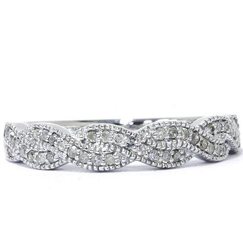 1/4CT Pave Diamond Infinity Vintage Ring 14K White Gold | Phone Store & Free Apps